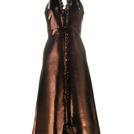 Temperley London metallic ruffle gown - Brown