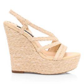 Tenley Raffia & Leather Slingback Platform Wedge Sandals
