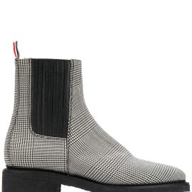 Thom Browne Chelsea boots with covered elastic & crepe sole in engineered 4 bar pow heavy wool - Black