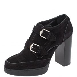 Tod's Black Suede Leather Buckle Detail Platform Booties Size 38.5