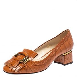 Tod's Brown Croc Embossed Leather Fringed Buckle Loafer Pumps Size 38