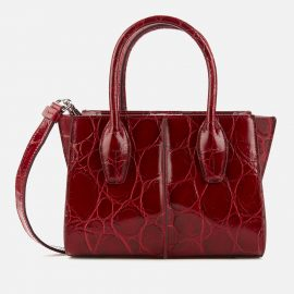 Tod's Women's Mini Croco Shopping Tote Bag - Rosso Borgogna
