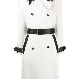 Tom Ford stripe detail double breasted coat - White