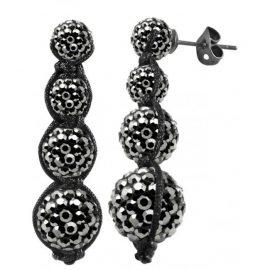 Tresor Paris Earrings Grey Crystal Drop