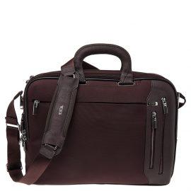 Tumi Burgundy Nylon T-Pass Kennedy Deluxe Brief Laptop Bag