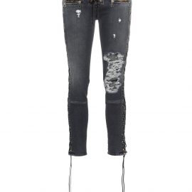 UNRAVEL PROJECT Skinny stonewash ripped skinny jeans - Grey
