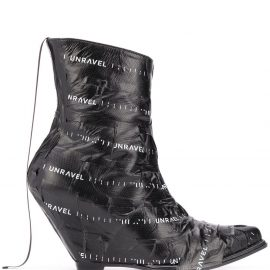UNRAVEL PROJECT logo tape wedge boots - Black