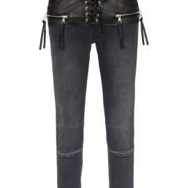 UNRAVEL PROJECT stonewash lace up skinny jeans - Black
