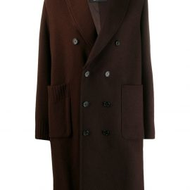 Undercover double breasted contrast panel coat - Brown