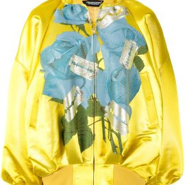 Undercover oversized floral-print bomber jacket - GOLD