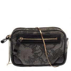 Valentino Black Lace Print Coated Canvas and Leather Crossbody Bag