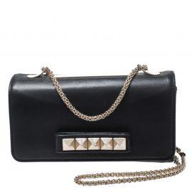 Valentino Black Leather Medium Va Va Voom Chain Shoulder Bag