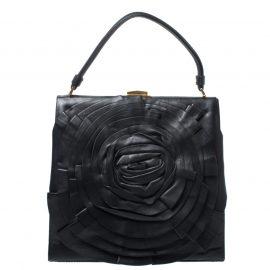 Valentino Black Leather Rose Kisslock Frame Top Handle Bag