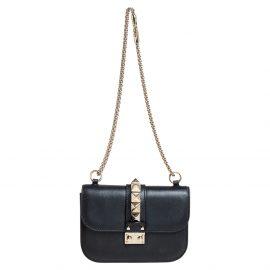 Valentino Black Leather Small Glam Lock Chain Shoulder Bag