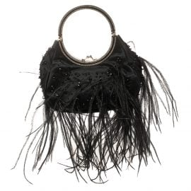 Valentino Black Satin and Ostrich Feather Embellished Ring Handle Clutch Bag