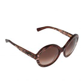 Valentino Bordeaux/ Brown Gradient Lace Detail V668S Round Sunglasses