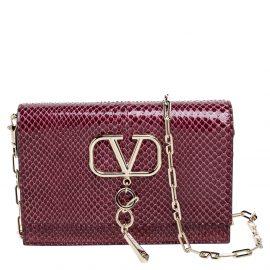 Valentino Cerise Python Small VCHAIN Shoulder Bag