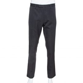 Valentino Dark Grey Wool Bicolor Band Trim Trousers XL