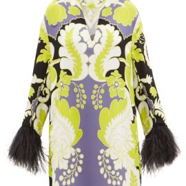 Valentino - Feather-trimmed Arazzo-print Silk-cady Mini Dress - Womens - Green Print
