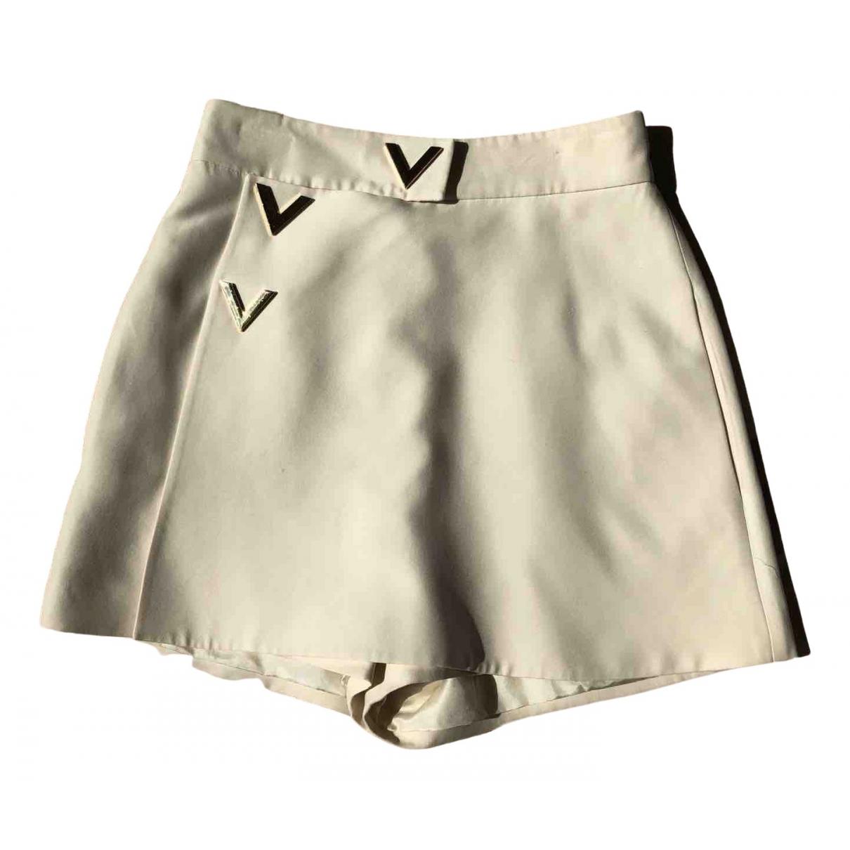 Valentino Garavani N White Wool Shorts for Women