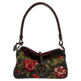 Valentino Green Denim Embroidered Floral Catch Shoulder Bag