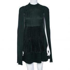 Valentino Green Silk Pleated Detail Cape Detail Mini Dress S