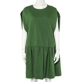 Valentino Green Wool & Silk Pleated Detail Oversized Mini Dress M