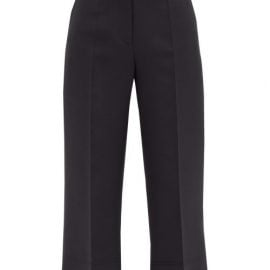 Valentino - High-rise Wool-blend Cropped Trousers - Womens - Black