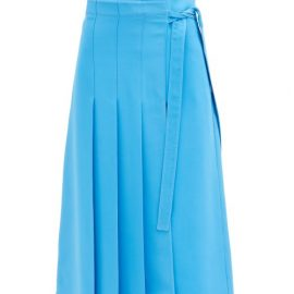 Valentino - Knife-pleated Silk Cady Couture Midi Skirt - Womens - Light Blue