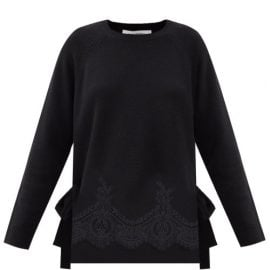 Valentino - Lace-trimmed Wool-blend Sweater - Womens - Black