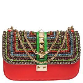 Valentino Multicolor Leather Medium Embellished Rockstud Glam Lock Flap Bag