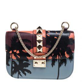 Valentino Multicolor Leather Small Hawaiian Rockstud Glam Lock Flap Bag