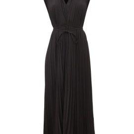 Valentino - Pleated Silk-georgette Midi Dress - Womens - Black