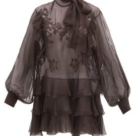 Valentino - Pussy-bow Lace-trimmed Silk-chiffon Blouse - Womens - Dark Brown