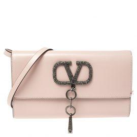 Valentino Rose Quartz Leather VCASE With Swarovski Crystals Clutch Bag
