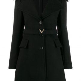 Valentino compact V belt coat - Black