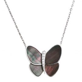 Van Cleef & Arpels Grey Mother of Pearl Diamond 18k White Gold Butterfly Pendant Necklace