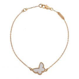 Van Cleef & Arpels Sweet Alhambra Mother of Pearl Butterfly 18K Yellow Gold Bracelet