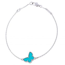 Van Cleef and Arpels Sweet Alhambra Turquoise Butterfly 18K White Gold Bracelet
