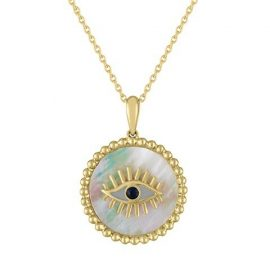Vanessa 14K Yellow Gold, Mother-Of-Pearl & Sapphire Evil Eye Pendant Necklace