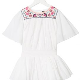 Velveteen Blair floral embroidered playsuit - White