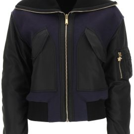 Versace Dual-material Bomber Jacket With Logo