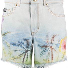 Versace Jeans Couture palm-print denim shorts - Blue