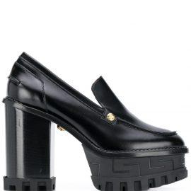 Versace chunky 125mm block-heel pumps - Black