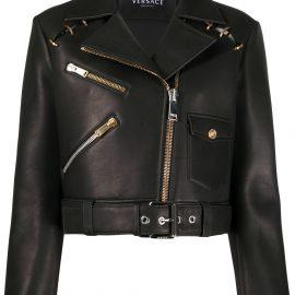 Versace cropped biker jacket - Black