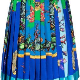 Versace fish-print pleated mini skirt - Green
