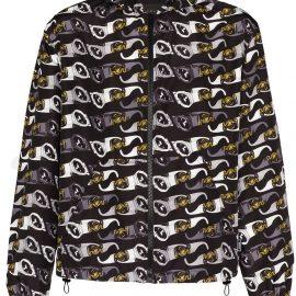 Versace hooded sunglasses-print jacket - Black