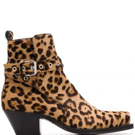 Versace leopard print 60mm ankle boots - Brown