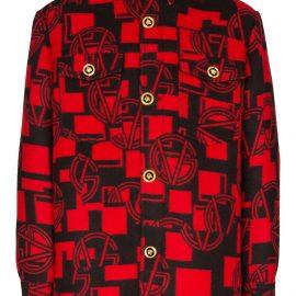 Versace logo pattern button-down shirt - Red