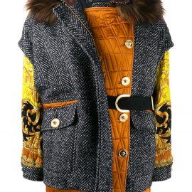Versace patchwork oversized jacket - Black